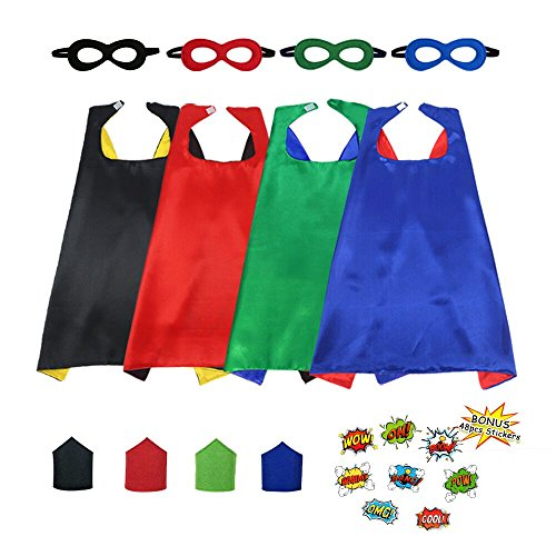 Superhero Capes and Masks Set for Kids with Bracelets&48 DIY Super Hero Stickers-Boys Girls Dress up Party (Diy Halloween Costumes Superheroes)