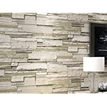 MIRUIKE Modern Faux Brick Stone Textured Pattern Wallpaper Roll for Home Room Decoration