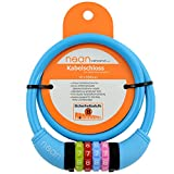 Nean children's-bicycle-cable-lock, number code combination lock in colourful design, 10 mm x 650 mm big, blue, 65 cm