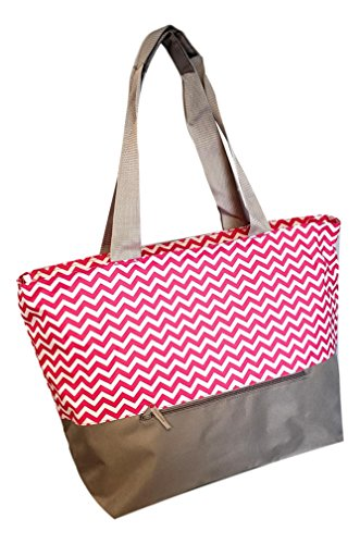 XL Beach Tote Chevron Print Weekender Bag with Mesh Webbed Handles and Outer Zippered PocketCan Be Personalized (Blank, Pink)