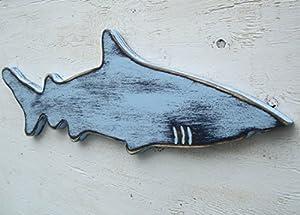 2 tone blue wood shark wall art