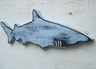 2 tone blue wood shark wall art