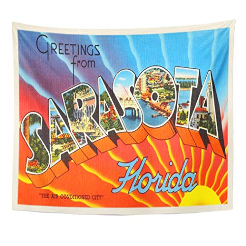 Semtomn Tapestry Artwork Wall Hanging City Sarasota Florida Fl Old Vintage Travel Greetings 50x60 Inches Home Decor Tapestries Mattress Tablecloth Curtain Print]()