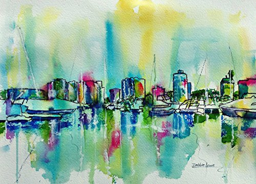 Abstract Long Beach Coastline -- with iconic buildings in downtown Long Beach, California - original watercolor