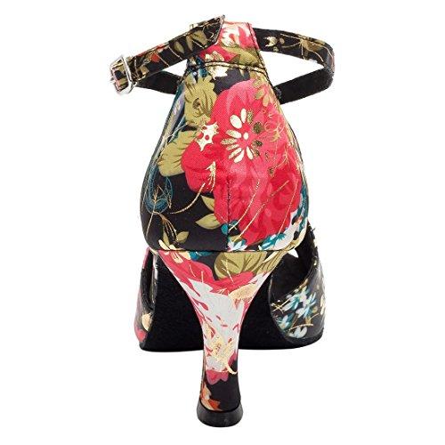 Tda Dames Peep Toe Cross Riem Bloemen Satijn Salsa Tango Ballroom Latin Moderne Dans Trouwschoenen Zwart