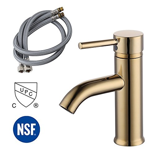 KES Modern Bathroom Sink Faucet Single Handle Wash Basin Faucet Lavatory Tap Lead-Free Brass, Titanium Gold, L3100ALF-4