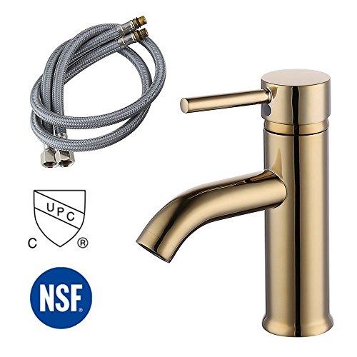 KES Modern Bathroom Sink Faucet Single Handle Wash Basin Faucet Lavatory Tap Lead-Free Brass, Titanium Gold, L3100ALF-4