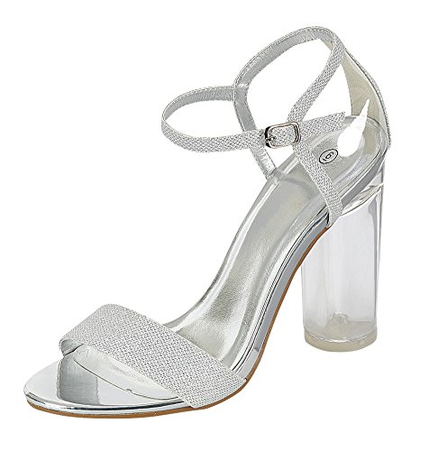 Cambridge Select Women's Open Toe Single Band Ankle Strappy Glitter Clear Lucite Round High Heel Dress Sandal (9 B(M) US, Silver)