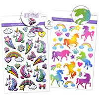 2 Different Packs Shiny Glitter Sparkle Unicorn Stickers & Puffy Unicorn Stickers with Foil Accents, Unicorn Scrapbook Stickers, Unicorn Craft Stickers, Embellishments 3D Dimensional, Pop-up