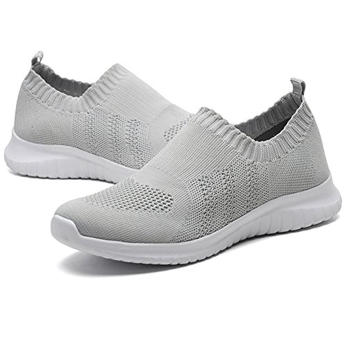 Grey Casual LANCROP Shoes On Women's Walking Mesh Sneakers Running Athletic 2133 Lightweight Slip Sgq7gBInAw