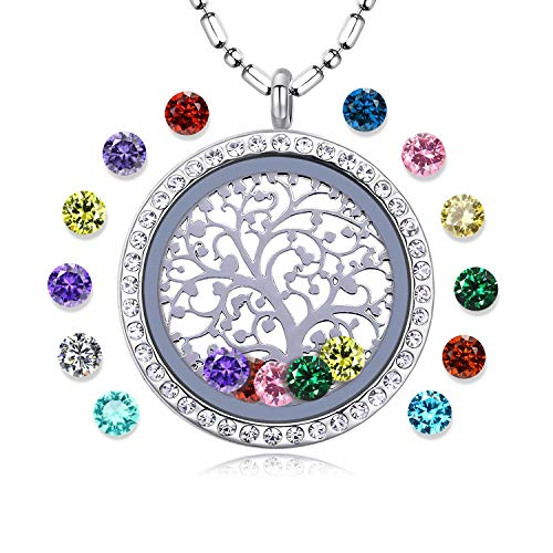 Family Tree of Life Floating Living Memory Locket Pendant Necklace with Birthstone, All Charms Included (Stainless-Steel-Diamond) ()