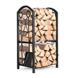 Pinty Indoor Firewood Rack & 4 Tools, 5 Fireplace Tools Accessories, Wrought Iron Firepit Poker Brush Shovel Tong Wood Log Storage Rack Holder