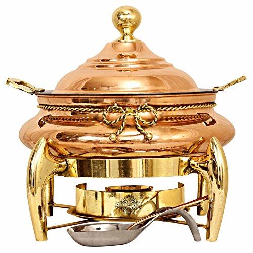 Indian Art Villa Steel Copper Chafing Dish with Designer Brass Fuel Gel Stand, Buffet Warmer Serveware Party, 6 LTR.