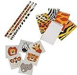 Adorable Children's Wild Animal / Safari Theme Party Favor Set / 12 Mini Animal Print Memo Pads /12 Pencils / 144 Animal Tattoos