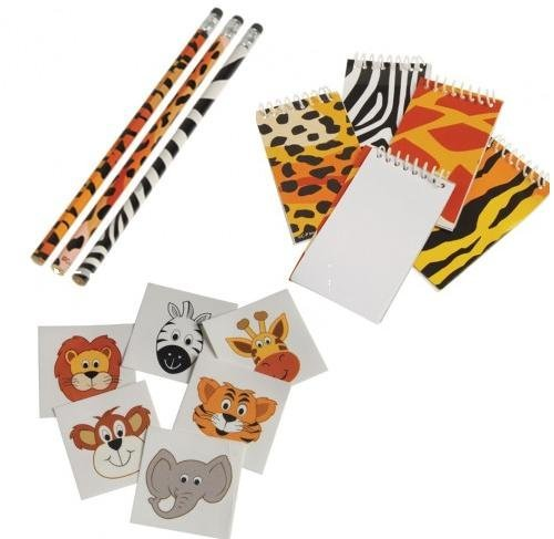 Adorable Children's Wild Animal / Safari Theme Party Favor Set / 12 Mini Animal Print Memo Pads /12 Pencils / 144 Animal Tattoos