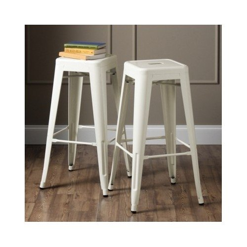 24 Inch Vintage Rustic Color Options Metal Counter Kitchen Barstools (Set of 2) Includes Scented Candle Tarts (White)