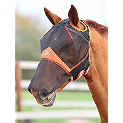 Shires Fine Mesh with Ear Holes and Nose Fly Mask Pony Black