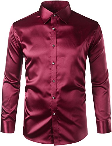 - ZEROYAA Mens Regular Fit Long Sleeve Shiny Satin Silk Like Dance Prom Dress Shirt Tops Z6 Wine Red X Large