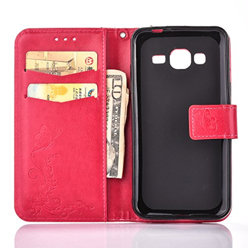 Galaxy J3 Case, BONROY® Samsung Galaxy J3 (2016) J320F Butterfly love flower couple series PU Leather Phone Holster Case, Flip Folio Book Case, Wallet Cover with Stand Function, Card Slots Money Pouch Butterfly love flower red