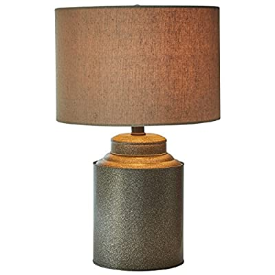 "Stone & Beam Rustic Farmhouse Jug Living Room Table Lamp With LED Light Bulb and Drum Shade - 12.5 x 20 Inches, Pewter - Bring the modern farmhouse look into your home with this lamp. A classic fabric shade is paired with a metal jug-shaped base for vintage and industrial touches. This lamp will add an interesting accent to a side table or nightstand. 12.5""Diameter x 20""H Metal base and hardware with fabric shade - lamps, bedroom-decor, bedroom - 51RllVmQyBL. SS400  -"