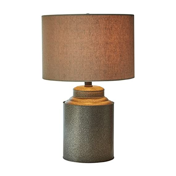 "Stone & Beam Farmhouse Jug Lamp With Bulb, 20""H, Black - Bring the modern farmhouse look into your home with this lamp. A classic fabric shade is paired with a metal jug-shaped base for vintage and industrial touches. This lamp will add an interesting accent to a side table or nightstand. 12.5""Diameter x 20""H Metal base and hardware with fabric shade - lamps, bedroom-decor, bedroom - 51RllVmQyBL. SS570  -"