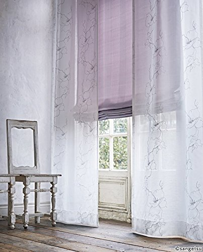 サンゲツ やわらかい線を刺繍で表現した花柄のシアーカーテン フラットカーテン1.3倍ヒダ SC3718 幅:250cm ×丈:190cm (2枚組)オーダーカーテン   B07849ZS14