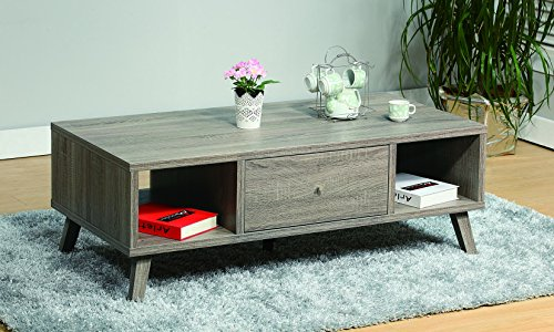 Smart home Modern Dark Taupe Storage Drawers Compartments Table Top Coffee Table Review