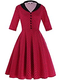 Women's Printed Knee-Length Classy Vintage Cocktail Party Dresses