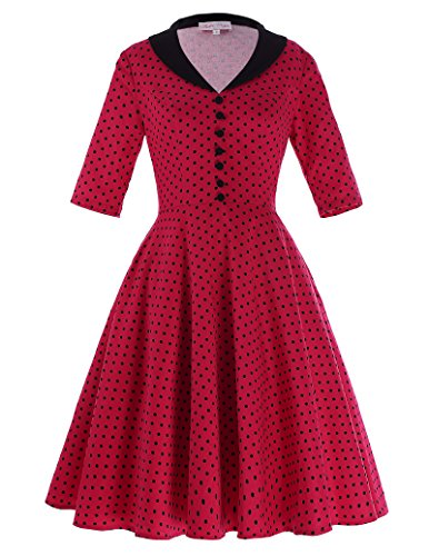 Belle-Poque-Women-Vintage-50s-Polka-Dot-Patterns-Casual-Swing-Party-Dresses