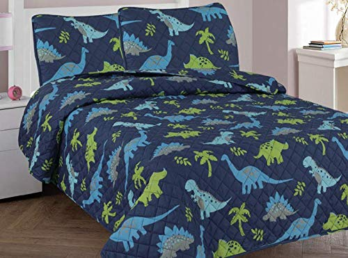 Golden linens Full Size 3 Pieces Printed New Designs Kids Bedspread/ Coverlet Sets/ Quilt Set (Full, DINOSAUR) (Bedding Quilts Childrens)