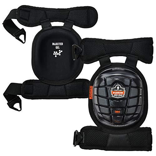 (Ergodyne ProFlex 344 Professional Knee Pads, Protective Short Cap, Injected Gel Techology, Adjustable Padded Comfort Straps, Black)