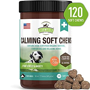 4. Strawfield Pets – Calming Treats for Dogs Anxiety Relief – 120 Soft Chews, USA