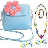 Aligle Cute Little Girl Fashionable Beauty Set Plush 3D Flower Handbag crossbody bag + 2 bow-knot Hair Clip + Necklace and Bracelet Set (Blue)