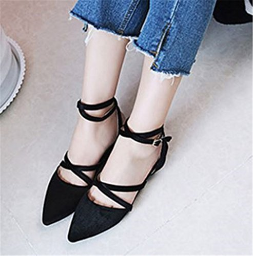Straps Black Women's Flats Shoes Ankle satisfied Sole Strappy aOITwT0g
