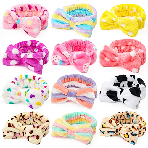 Shindel Bow Hair Band, 12PCS Makeup Headbands Spa Headband, Soft Coral Fleece Head Wraps, for Washing Face Shower Spa Mask