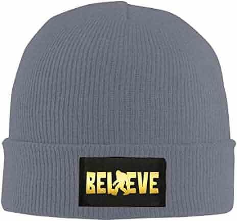 984cded0ea4 Bigfoot Believe Sasquatch I Believe Bigfoot Unisex Warm Winter Hat Knit  Beanie Skull Cap Cuff Beanie