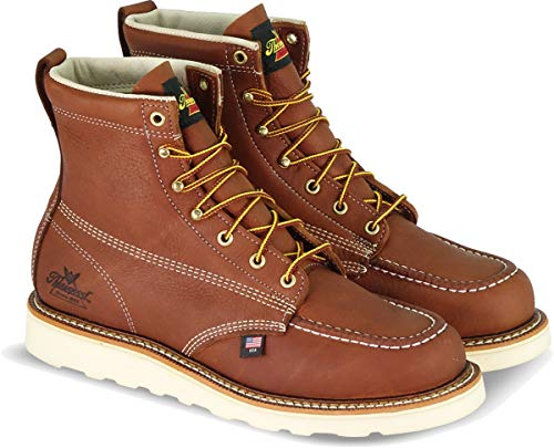 "Thorogood 804-4200 Men's American Heritage 6"" Moc Toe, MAXwear Wedge Safety Boot, Tobacco Oil-Tanned - 12 2E US"
