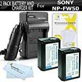 2 Pack Battery And Charger Kit For Sony a7 a7R NEX-6, A55, A33, SLT A55, QX1, NEX-5N NEX-7 NEX-5TL Alpha A3000, a5000, a6000 a6300 DSLR Camera Includes 2 Replacement NP-FW50 Batteries + Charger + More