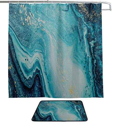 (Marble Texture Color Crystal Gold Design Gorgeous And Noble Single-sided Printing Shower Curtain And Non-slip Bath Mat Rug Floor Mat Combination Set With 12 Hooks For Bathroom Decor And Daily Use)