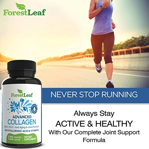 51RlnTFnLmL - Advanced Collagen Supplement, Type 1, 2 and 3 with Hyaluronic Acid and Vitamin C - Anti Aging Joint Formula - Boosts Hair, Nails and Skin Health - 120 Veggie Capsules - by ForestLeaf