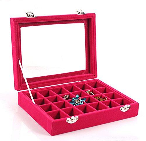Red Ring Display Box (VANCORE Velvet Earring Case Jewelry Box Organizer Earring Holders for Women)