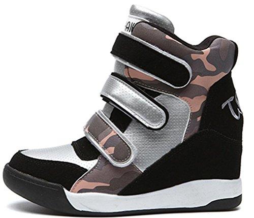 Para Mujer Casual High High Hidden Heel Wedges Platform Moda Sneakers Camuflaje