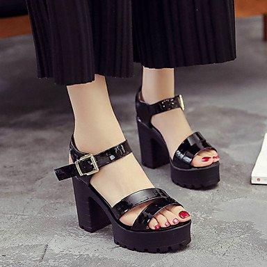 LvYuan Mujer Sandalias Confort PU Verano Confort Tacón Robusto Blanco Negro 12 cms y Más Black