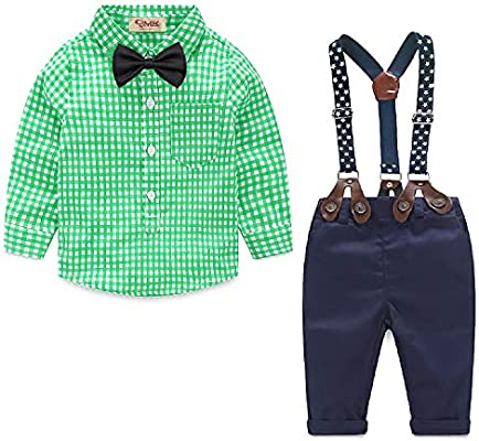 CARETOO Baby Boys Clothing Sets Romper Clothes Suit Set Baby Bow Tie Suit for Baby Birthday Party Dress