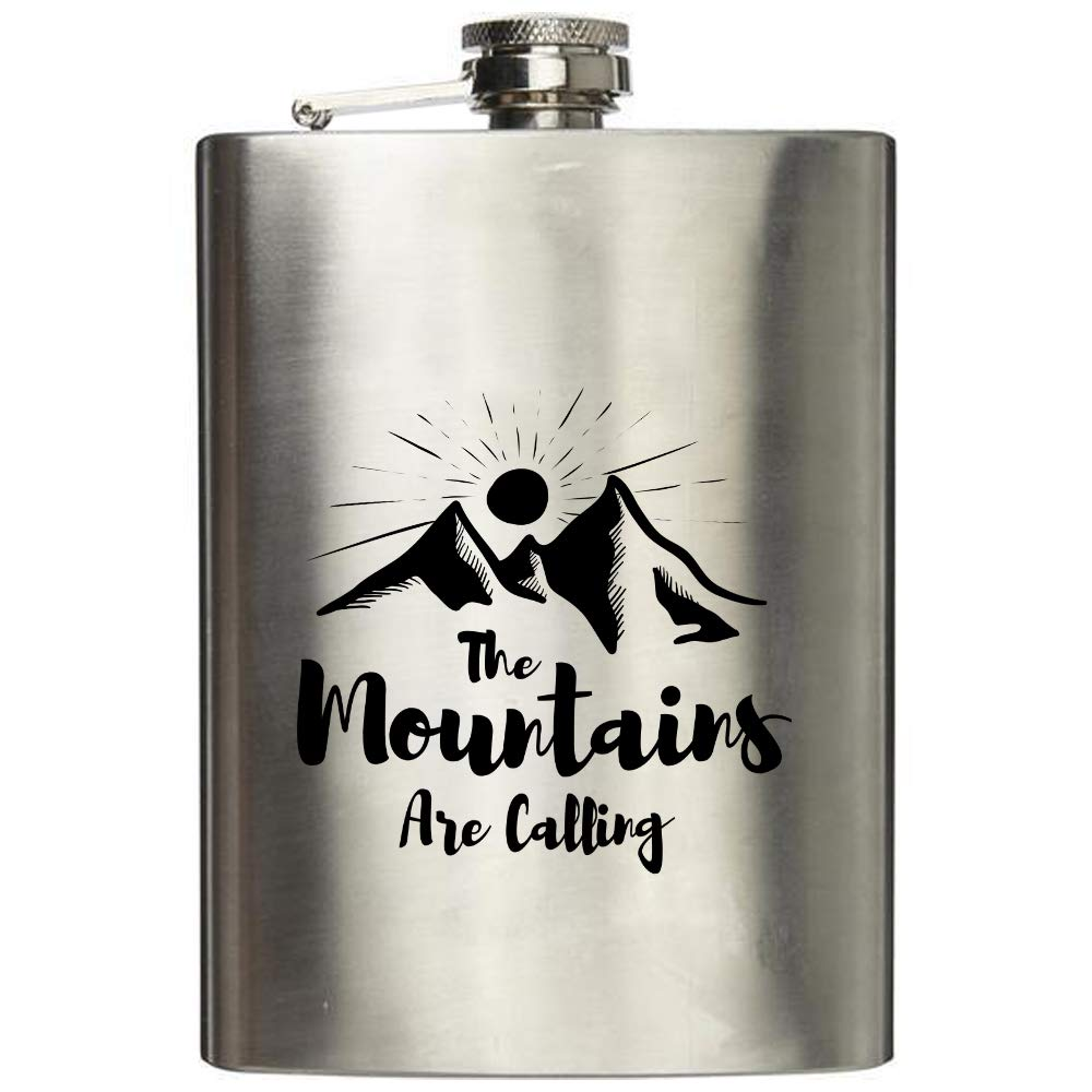 creativgravur/® Flachmann 7oz geb/ürstet mit Gravur The Mountains are calling