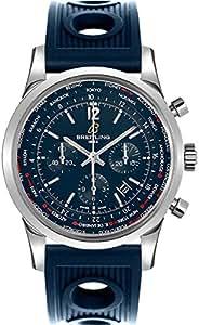 Breitling Transocean Unitime Pilot Steel Men's Watch w/ Blue Ocean Racer Rubber Strap AB0510U9/C879-205S