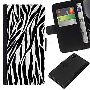 eJoy---La carpeta del tirón la caja de cuero de alta calidad de la PU Caso protector - Sony Xperia Z2 D6502 - --Zebra Print;
