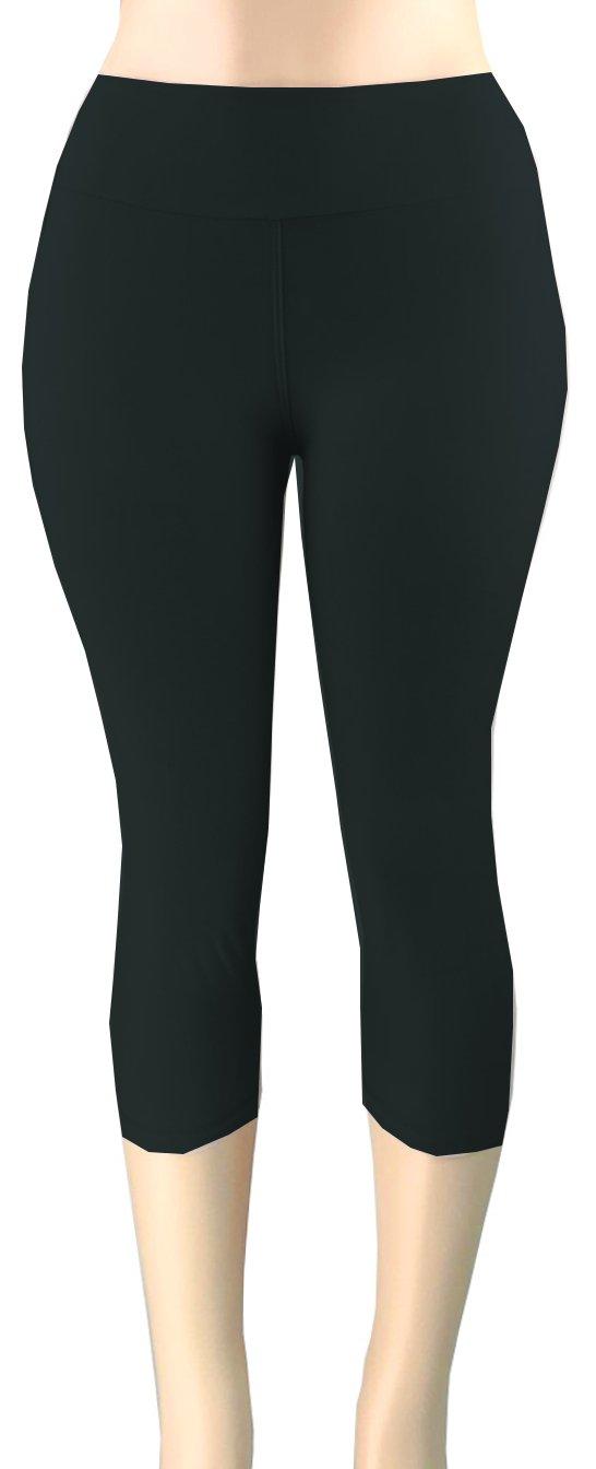 Lush Moda Extra Soft Leggings - Variety of Colors -Plus Size Yoga Waist - Black