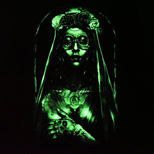 Tattooed Bride Santa Muerte - Rock Eagle T-Shirt Glow in the Dark Catrina