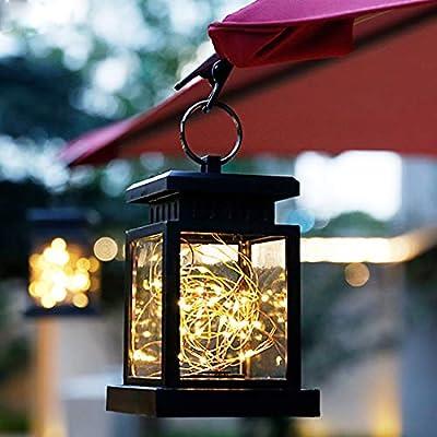 Farolillo solar LED para exterior, lámpara de jardín, lámpara para jardín, decoración de jardín, balcón, restaurante, fiesta, día de San Valentín, decoración de boda, camping (2 unidades): Amazon.es: Iluminación